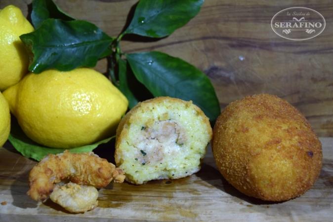 Arancina zucca, gamberi e pistacchio